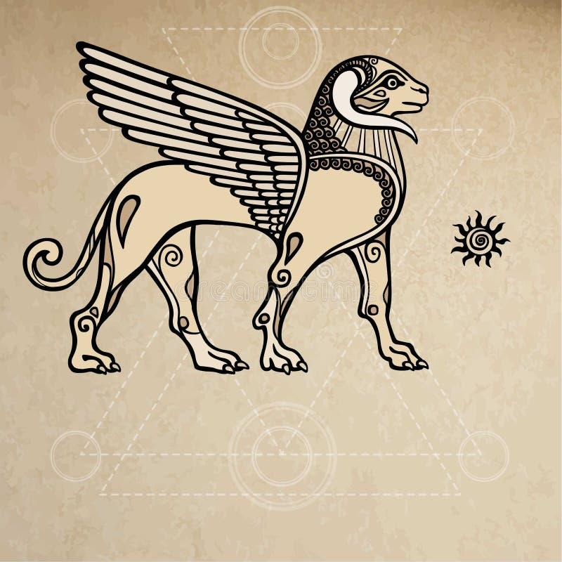 Asyryjskiego chimera oskrzydlony baran Tło - imitacja stary papier royalty ilustracja