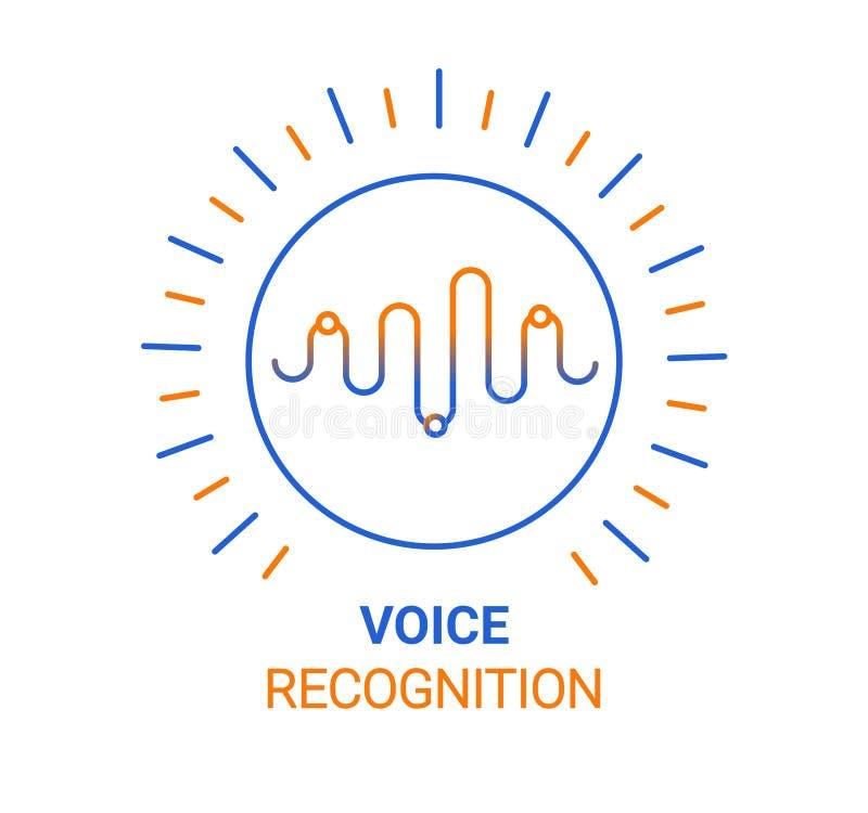 Asystenta osobistego głosu rozpoznania pojęcie Sztucznej inteligencji technologie Rozsądnej fali logo pojęcie Wektorowy tło royalty ilustracja