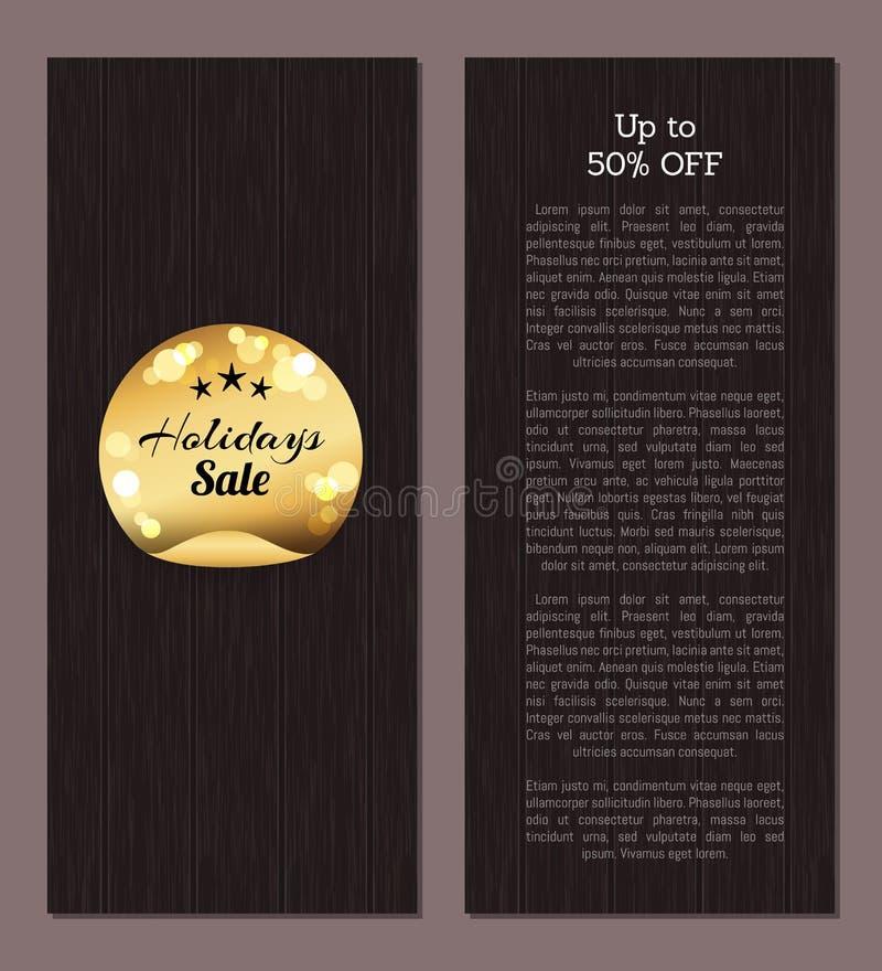 Até 50 fora da etiqueta dourada da venda dos feriados redonda ilustração do vetor