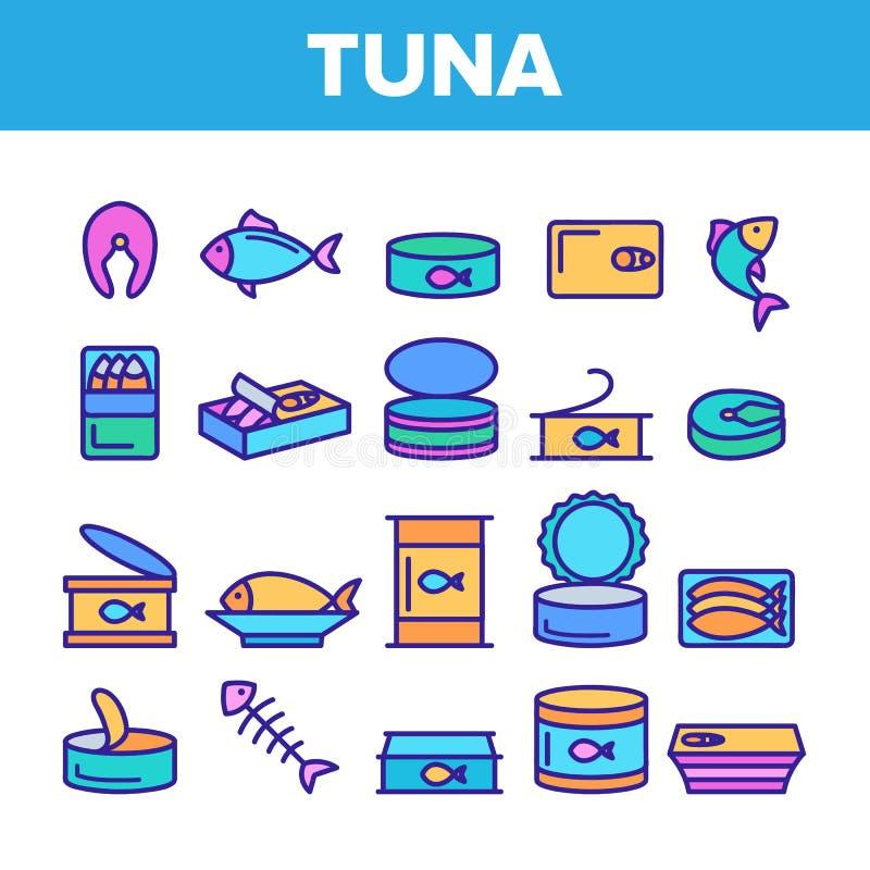 Atún del color, sistema linear de los iconos del vector de los productos pesqueros ilustración del vector
