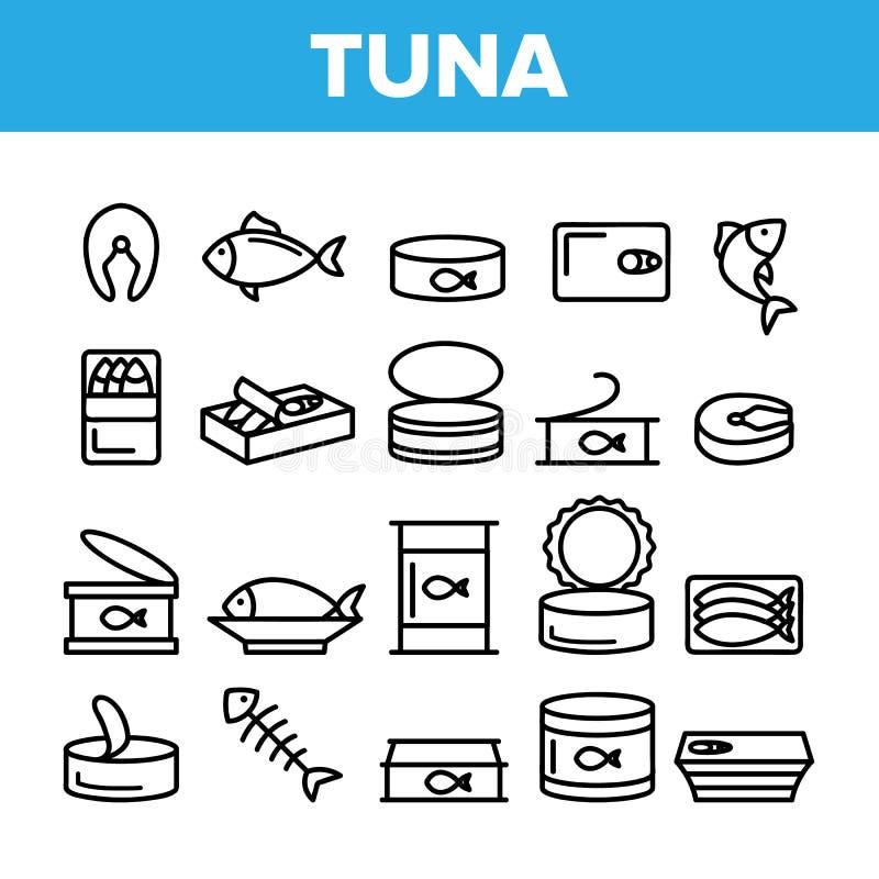 Atún, sistema linear de los iconos del vector de los productos pesqueros libre illustration