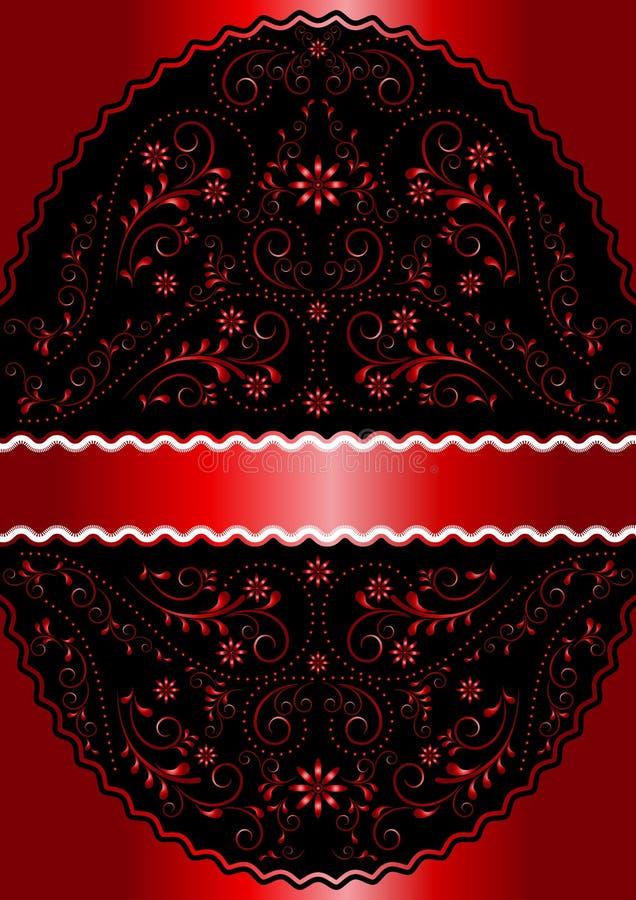 Atłasowy czerwony faborek w czerwonej falistej openwork kwiecistej owal ramie ilustracji