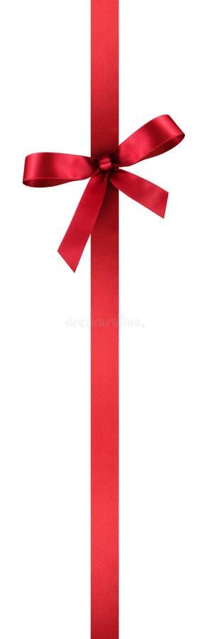 Atłasowy prezenta faborek z Czerwonym kolorem i Dekoracyjnym łękiem - Pionowo ilustracja ilustracja wektor