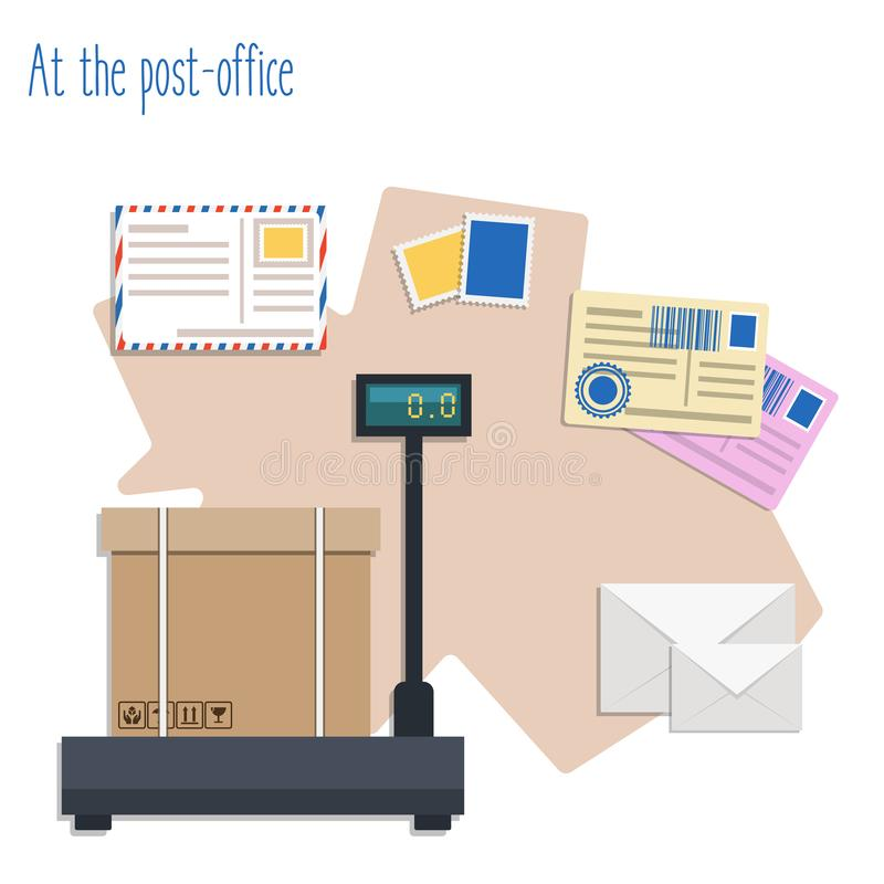 Free At The Post-office Flat Vector Illustration Setes. Flat Vector Illustration Stock Photo - 157560470