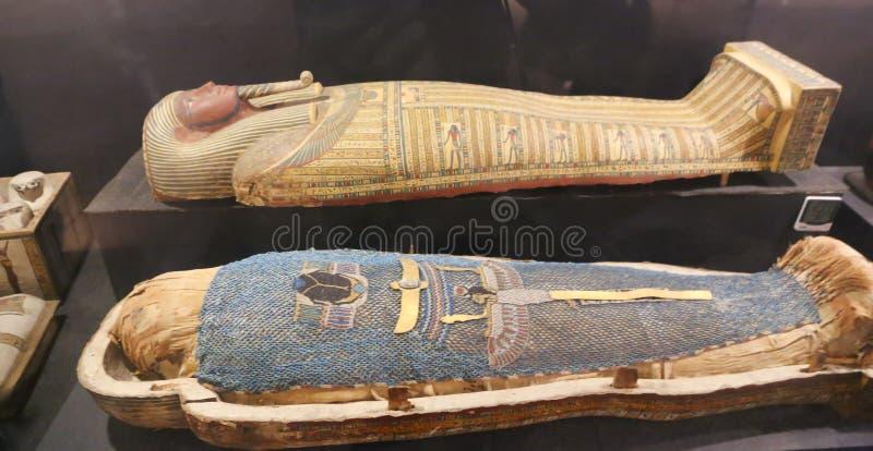 Ataúd antiguo de la reina en el museo de Luxor, Egipto foto de archivo libre de regalías