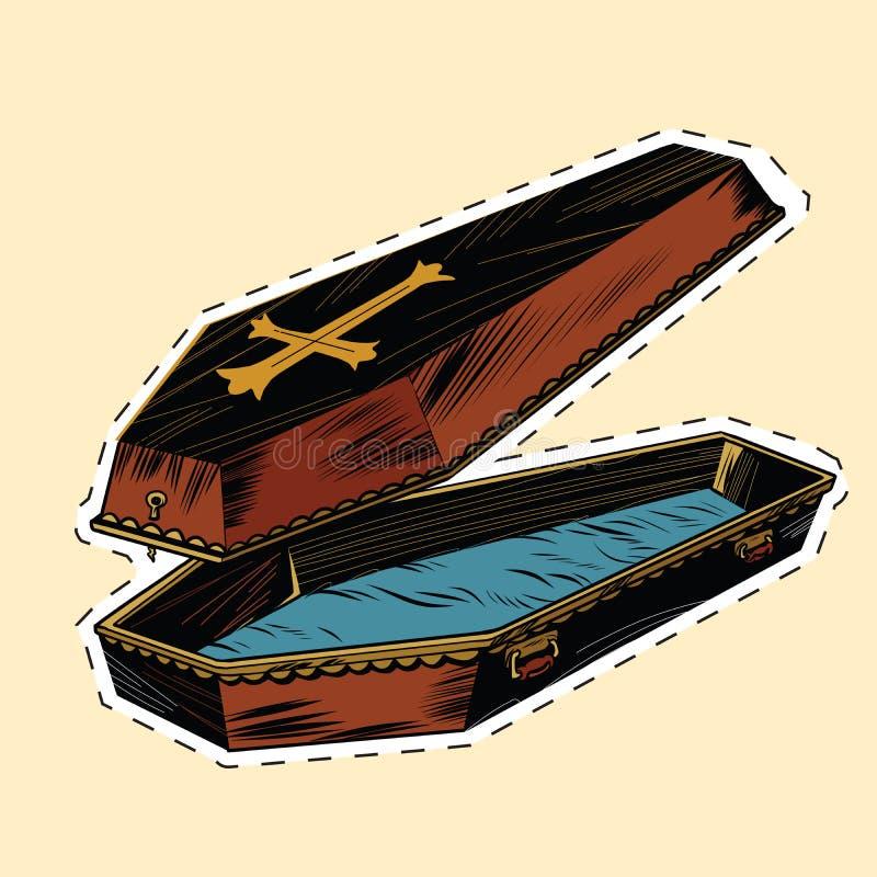 Ataúd de madera con la etiqueta autoadhesiva cruzada cristiana stock de ilustración