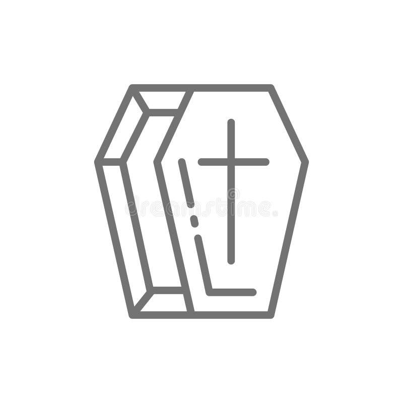 Ataúd, línea icono de la tumba Aislado en el fondo blanco libre illustration