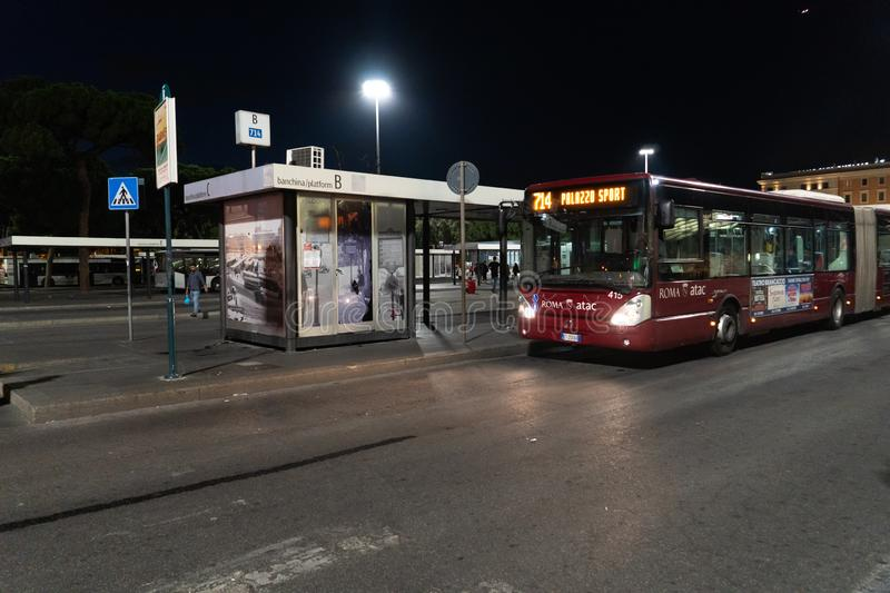 Atac bus stop in front of Termini Station, Rome, Italy royalty free stock photo