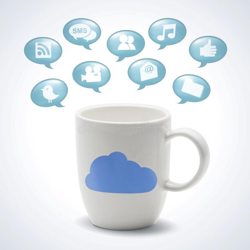 Atac com o Internet do ícone da nuvem ilustração royalty free