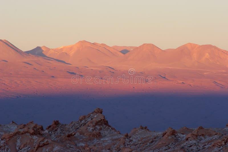 atacama智利上色沙漠日落 免版税库存图片