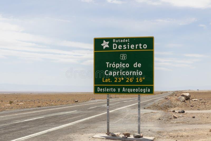 Sign of Tropic of Capricorn in Atacama desert in Chile royalty free stock photo