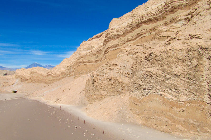 Atacama desert arid salt valley. Dry desert in Atacama, Chile. Arid flat land and mountains in Moon valley stock image