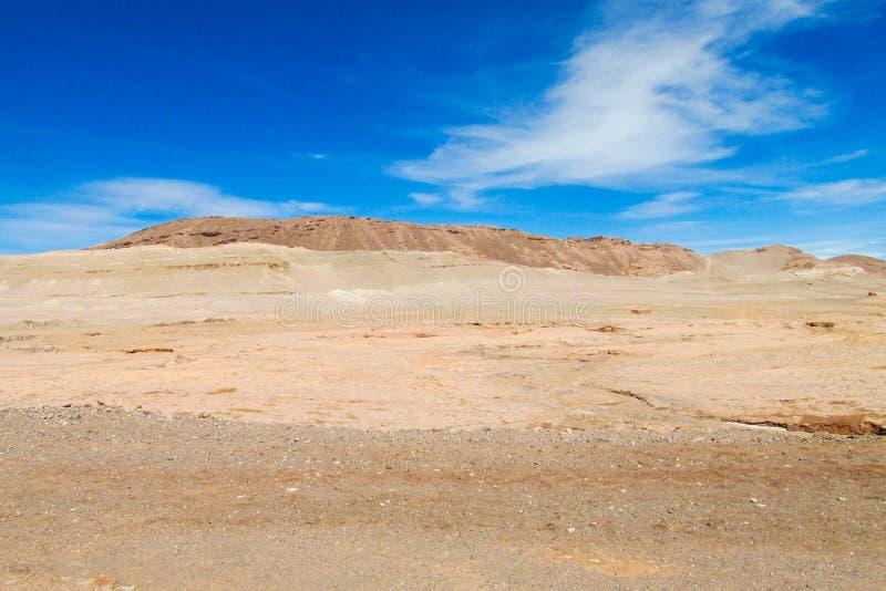 Atacama desert flat. Dry desert in Atacama, Chile. Arid flat land in Moon valley stock photo