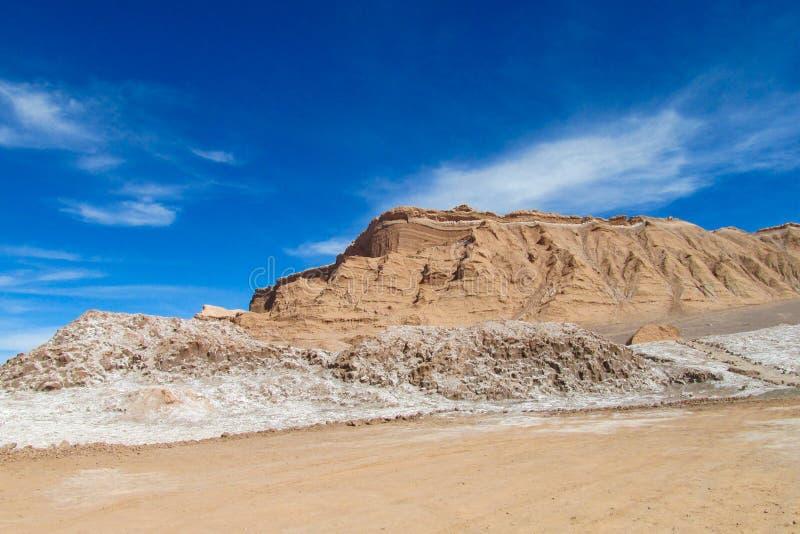 Atacama desert flat and mountains. Dry desert in Atacama, Chile. Arid flat land in Moon valley stock photo