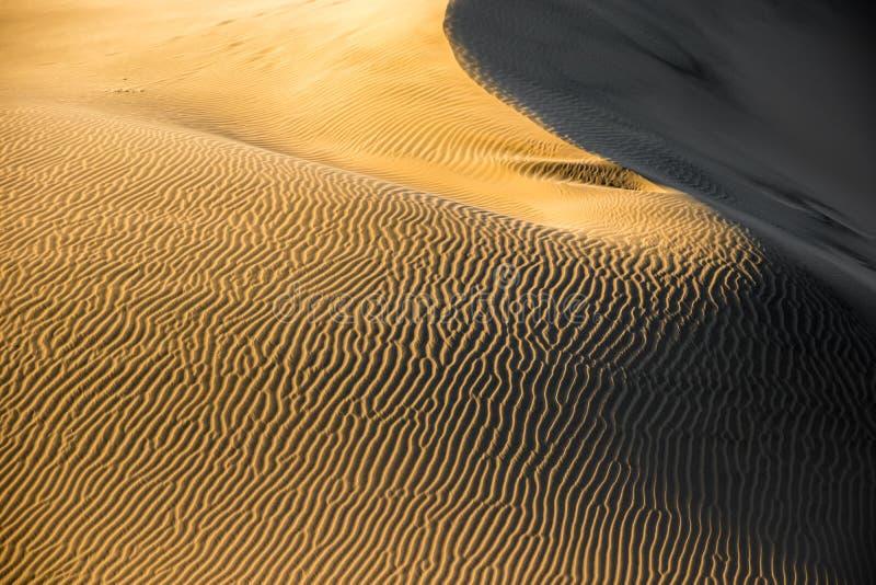 Atacama-Wüsten-Sandwellen im Sonnenunterganglicht, Huacachina, Ica, Peru lizenzfreies stockbild