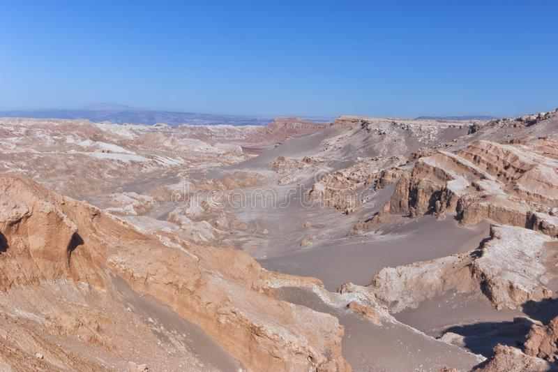 Atacamawoestijn, canions van surreal Maanvallei, Chili stock foto's