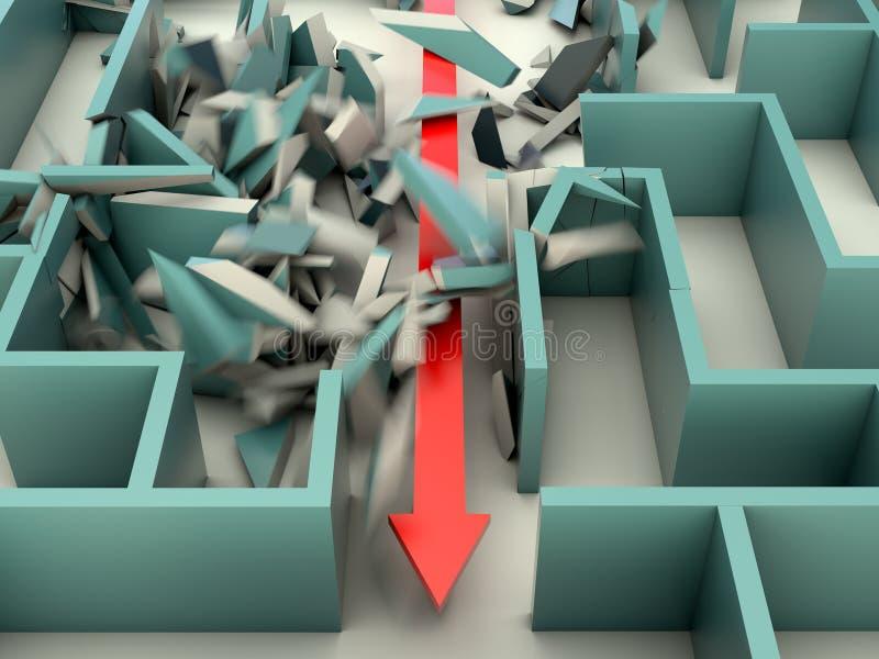 Atacando o labirinto ilustração stock