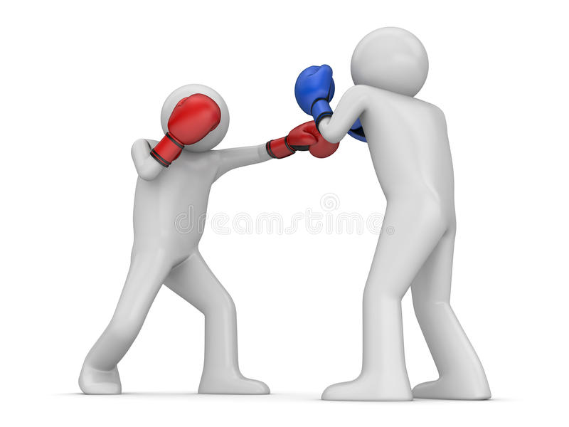Atack and defence in boxing! stock photos