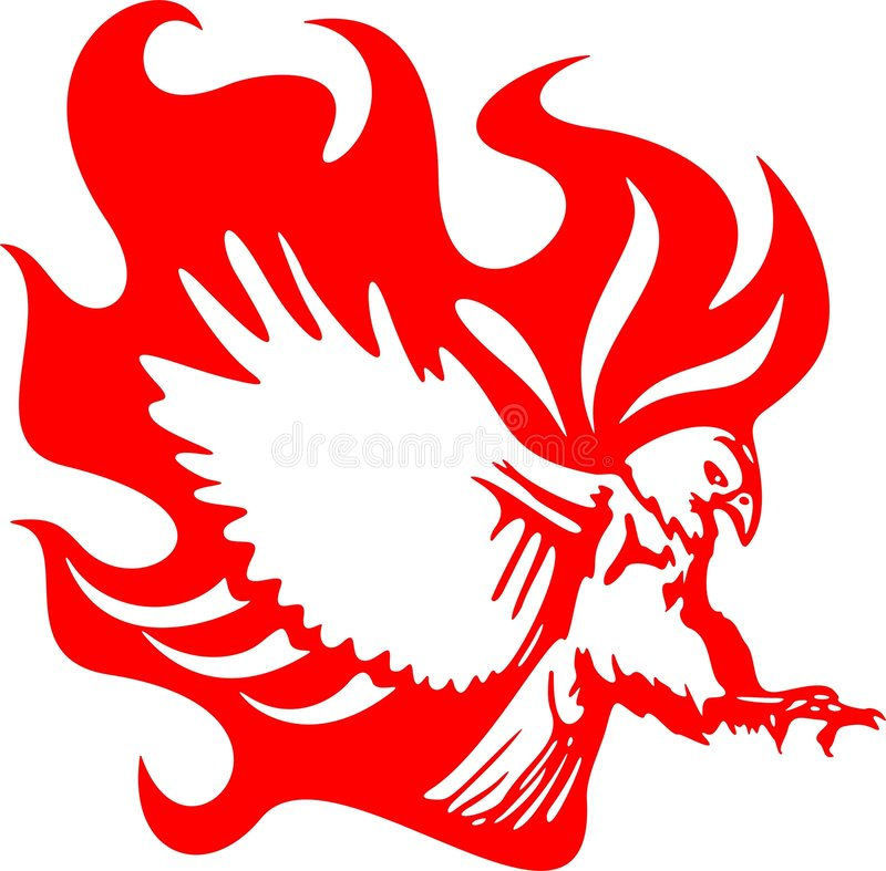 Atacking Eagle in Flames 6 stock illustration