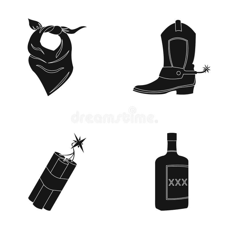 Atadura, botas, dinamite e uma garrafa do uísque Os ícones ajustados da coleção do oeste selvagem no estilo preto vector o estoqu ilustração do vetor