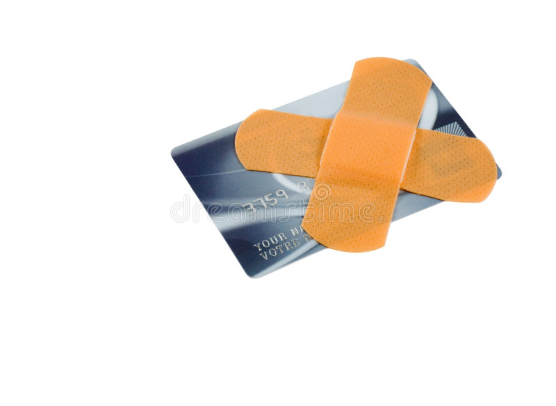 Atadura no cartão de crédito imagem de stock