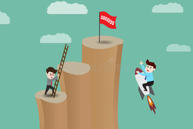 Atajo - el hombre de negocios va a acertado por el cohete ilustración del vector