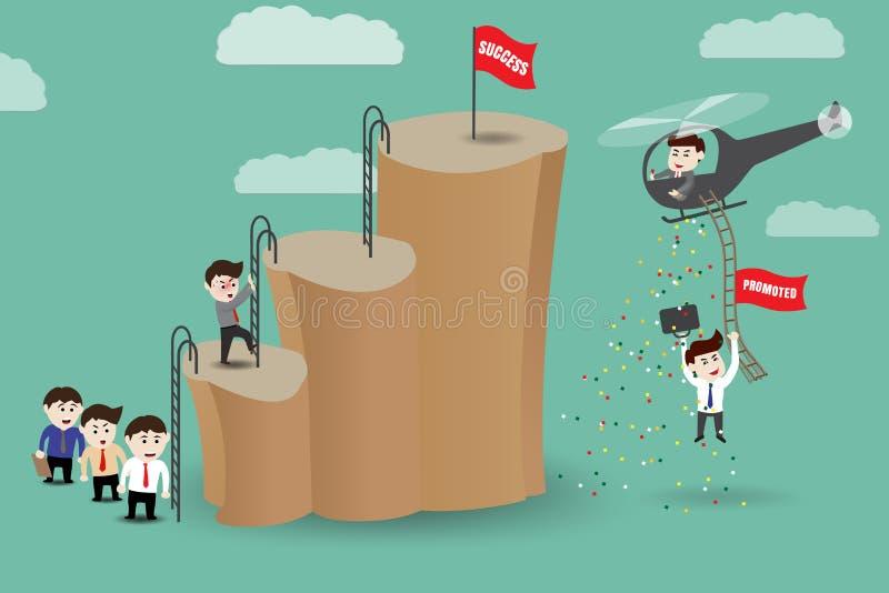Atajo - los empleados consiguen promovidos al éxito por el helicóptero libre illustration