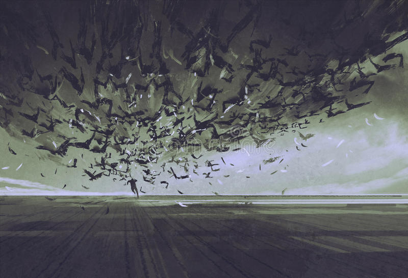 Atak wrony, mężczyzna bieg zdala od kierdla ptaki ilustracja wektor