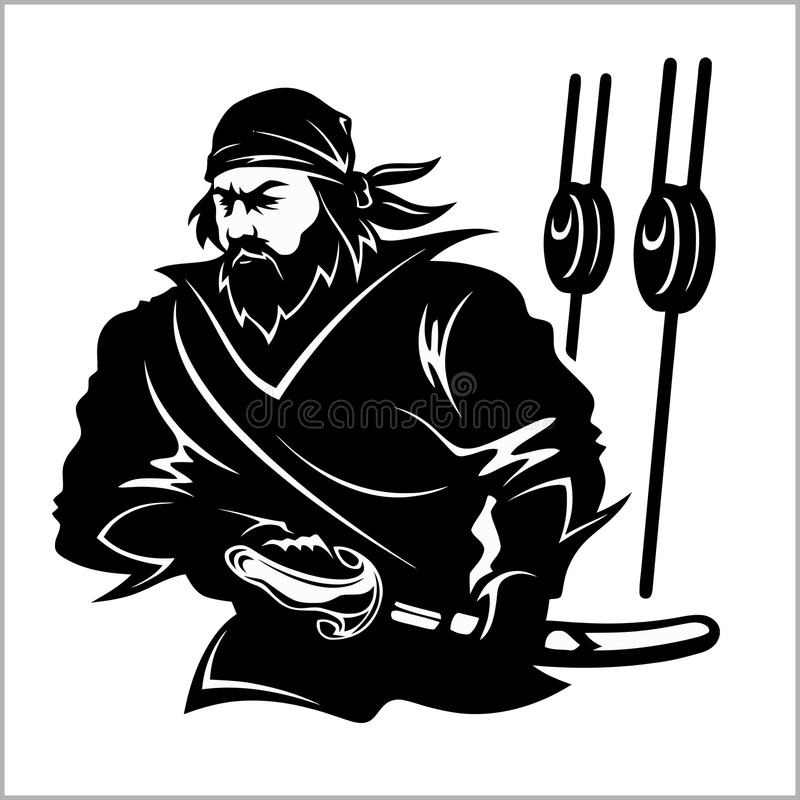 Atakujący pirata - czarny i biały wektorowa ilustracja ilustracja wektor