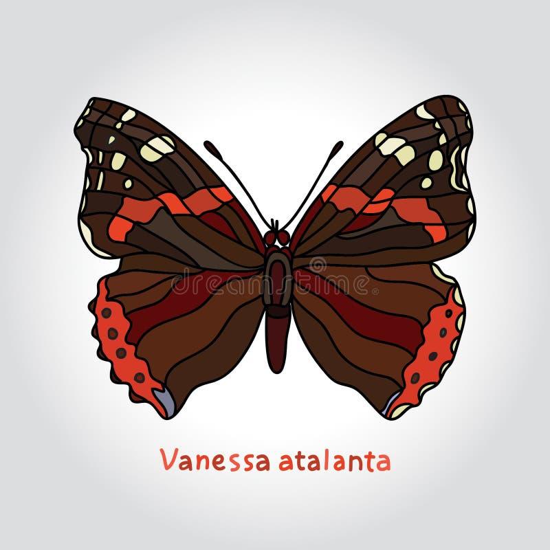 Atalanta van vlindervanessa Vector illustratie stock illustratie