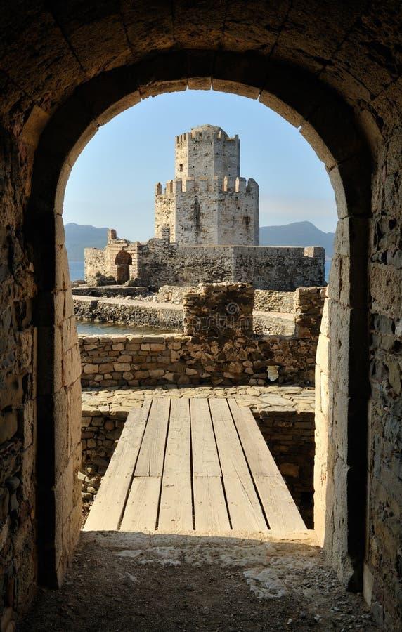 Atalaya del castillo en Methoni fotografía de archivo