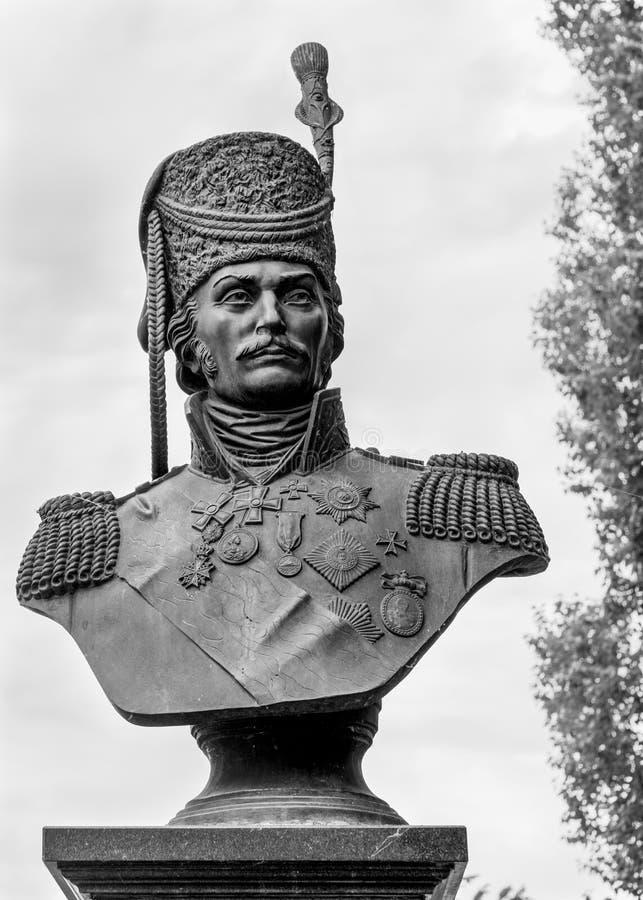 Ataman Matvey Platov - byst i den forntida huvudstaden av Don Cossacks - Starocherkasken royaltyfri bild