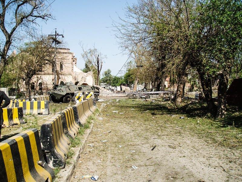 Ataque americano del consulado en Peshawar, Paquistán fotos de archivo