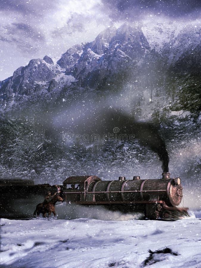 Ataque ao trem ilustração royalty free