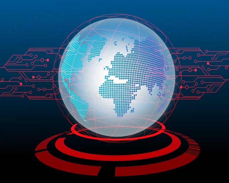 Ataque cibernético del mapa del mundo por el fondo del concepto del circuito del pirata informático Vec ilustración del vector