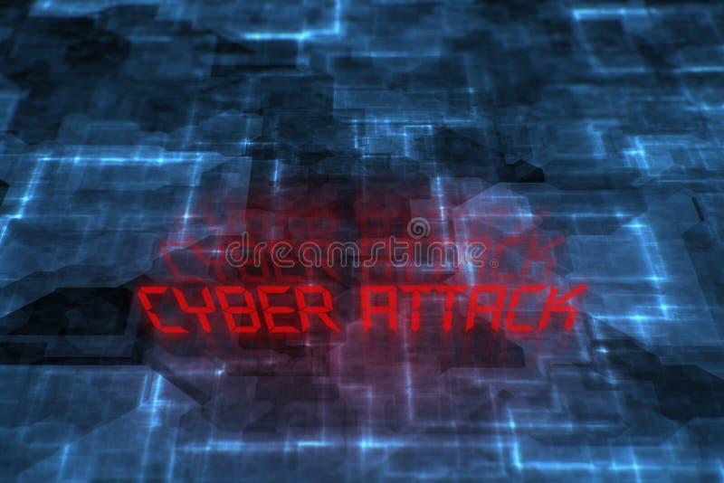 Ataque cibernético escrito el fondo foto de archivo
