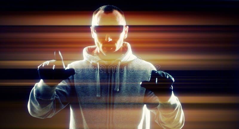 Ataque cibernético virtual del ordenador del pirata informático foto de archivo