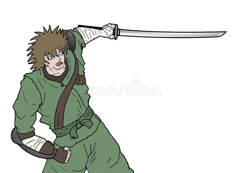 Ataque da espada do samurai ilustração do vetor