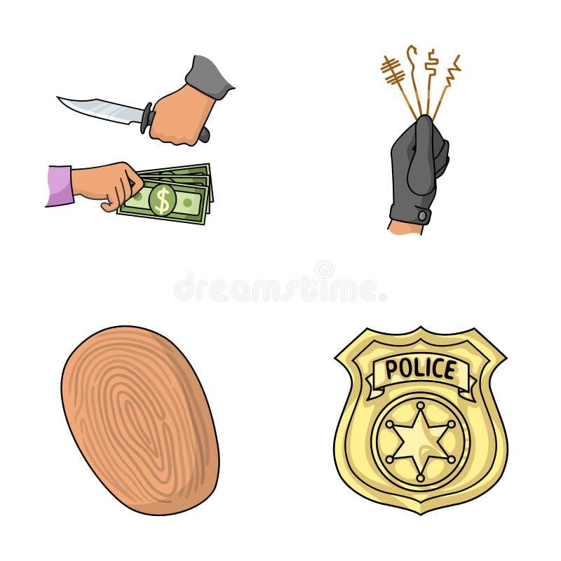 Ataque da extorsão, impressão digital, crachá do ` s do agente da polícia, carteiristas Ícones ajustados da coleção do crime no v ilustração royalty free