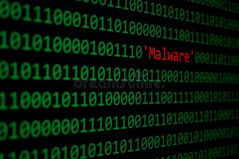 Ataque da segurança e do Malware do conceito de Malware vermelho e do código binário imagens de stock