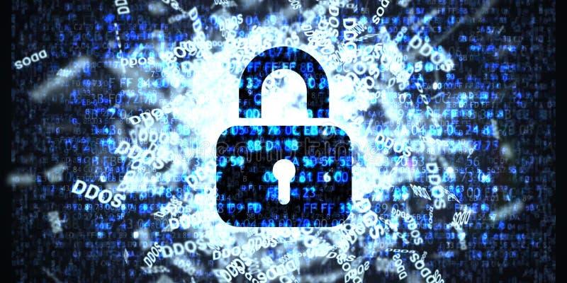 Ataque de DDOS, Trojan da infecção, ataques do vírus ilustração royalty free
