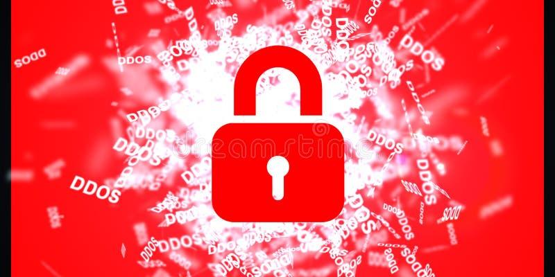 Ataque de DDOS, Trojan da infecção, ataques do vírus Proteção de dados ilustração royalty free