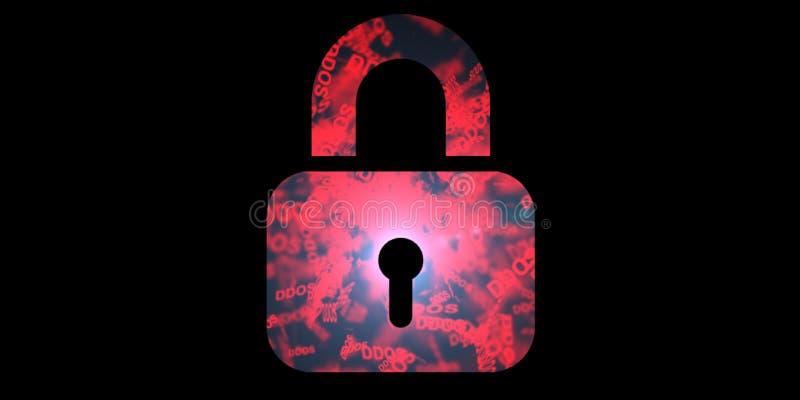 Ataque de DDOS, Trojan da infecção, ataques do vírus Proteção de dados ilustração do vetor