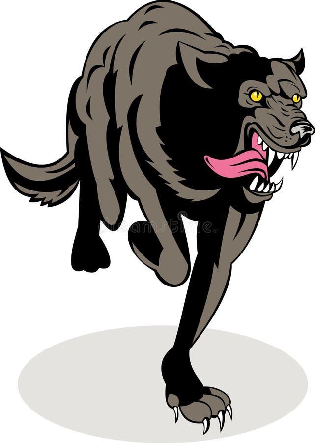 Ataque de funcionamento do lobo cinzento ilustração do vetor