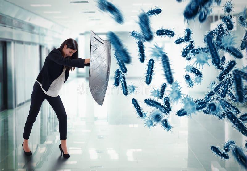 ataque de la representación 3D de bacterias imagen de archivo libre de regalías