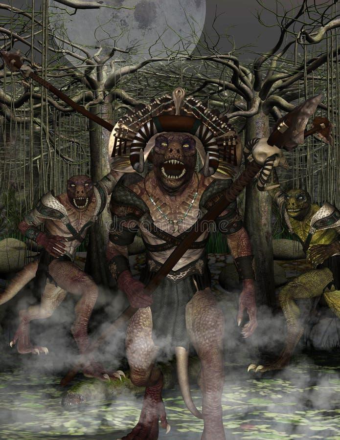 Ataque de Lizardmen imagen de archivo libre de regalías