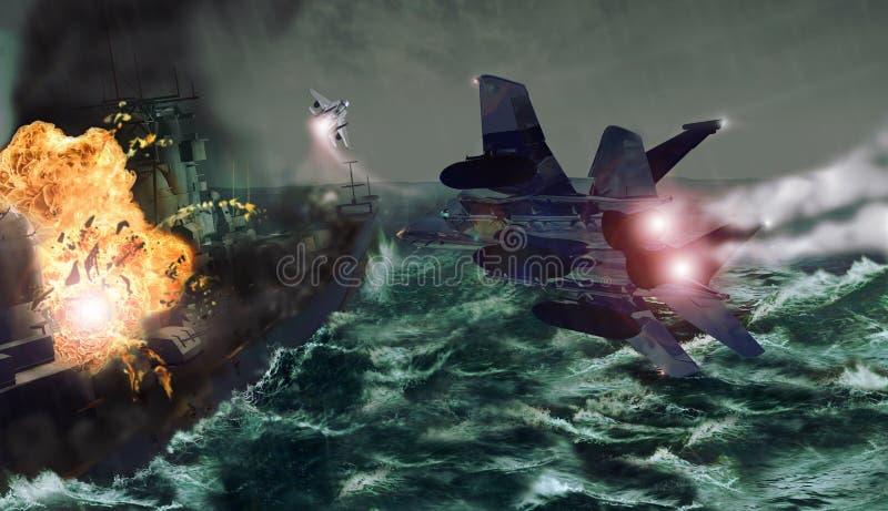 Ataque de los combatientes stock de ilustración