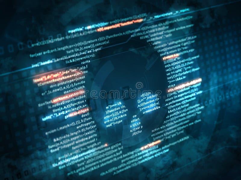 Ataque del malware del virus de ordenador código de ordenador en una pantalla con un símbolo del cráneo fotos de archivo libres de regalías