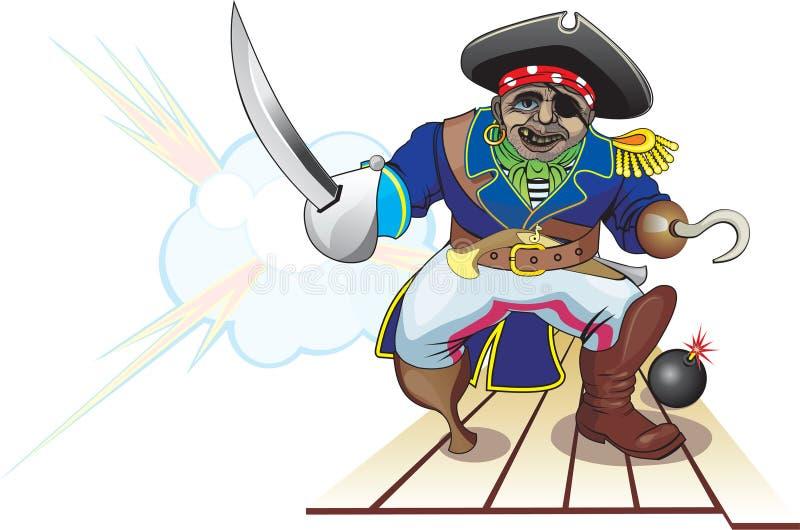 Ataque del pirata stock de ilustración