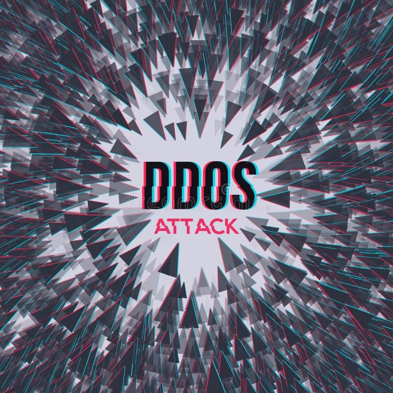 Ataque del pirata informático DDoS en fondo del abstrackt ilustración del vector